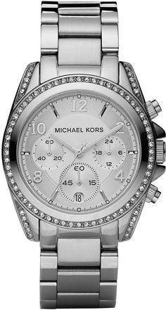 Michael Kors Silver Runway Watch with Glitz