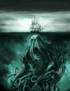 "Windjammer:  #Windjammer ~ Cthulhu  is a monstrous entity who lies ""dead but dreaming"" in the city of R'lyeh, a place of non-Euclidean madness presently (and mercifully) sunken below the depths of the Pacific Ocean."
