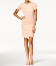 466a0389 Dresses 175784: Bar Iii Women S Clothing Envelope-Hem Sheath Dress Coral  Mist S