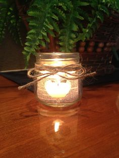 Wedding candles in mason jars for book lovers set by FossilCreek, $60.00