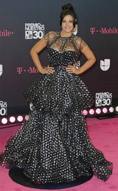 Maite Perroni from 2018 Premio Lo Nuestro Red Carpet Fashion  The actressis loving this polka dot look.