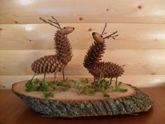 two deers made of fir cones and ahorns 40 nature-inspired fall decorating ideas and easy DIY decor - DIY Deko Stags Made From Pinecones And Acorns. Comments in Topic Autumn Crafts, Nature Crafts, Xmas Crafts, Diy And Crafts, Nature Decor, Pine Cone Art, Pine Cone Crafts, Pine Cone Decorations, Christmas Decorations