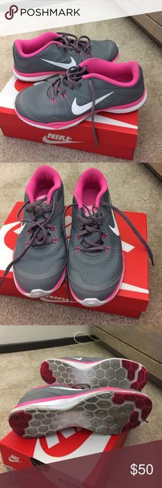 Nike Training Flex TR 5 US size 7 Nike Training Flex athletic shoes in grey and pink. Good condition and worn a couple of times. Shoe box not included. Nike Shoes Athletic Shoes