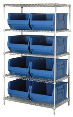 "Quantum Storage Systems WR5-993RD 5-Tier Complete Wire Shelving System with 8 QUS993 Red Hulk Bins, Chrome Finish, 36"" Width x 36"" Length x 86"" Height by Quantum. $965.06. Genuine Quantum modular wire systems offer a unique combination of shelf and post sizes in a variety of finishes to compliment any application. The split sleeve and grooved numbered posts allow for easy and quick assembly. The all welded shelf construction is supported with architectural wire trusses to provid..."