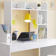 Symple Stuff 29'' H x 37'' W Desk Hutch & Reviews | Wayfair White Desk Bookshelf, Desk Shelves, Bookshelves, College Dorm Desk, College Board, Closet Interior, Desk Supplies, College Supplies, School Supplies