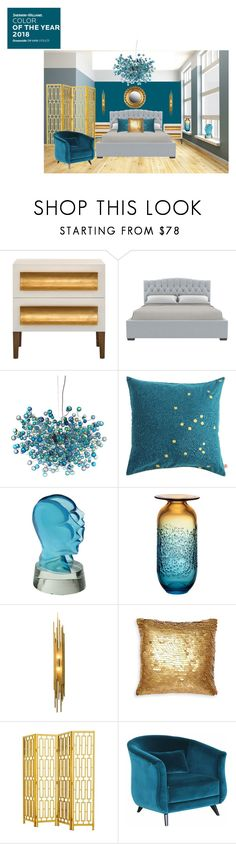 """""""Oceanside - Sherwin Williams COTY 2018-Bedroom"""" by shistyle ❤ liked on Polyvore featuring interior, interiors, interior design, home, home decor, interior decorating, GAS Jeans, Kosta Boda, Eichholtz and bedroom"""