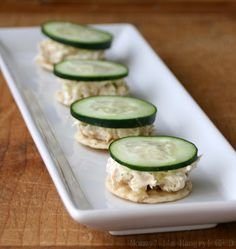 Here's a great little snack or light lunch idea. I use my favorite tuna salad recipe and have a rice cracker with it. Add a thinly sliced cucumber for a little refreshing crunch. A nice take on the same old sandwich.