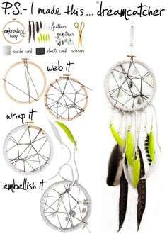 Dreamcatcher DIY. My little girl asked for at dreamcatcher to take away her bad dreams. I am so making this for her.