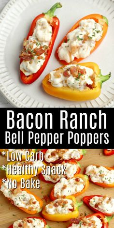 Bacon Ranch Bell Poppers - Healthy snacks are the easiest way to ensure you stay on track! These low carb bacon ranch bell pepper poppers can easily be whipped up and made ahead of time! Serve this no bake recipe for snacking or entertaining! Keto Foods, Healthy Low Carb Snacks, Low Carb Recipes, Diet Recipes, Healthy Eating, Cooking Recipes, Healthy Recipes, Recipes For Snacks, Snacks Ideas