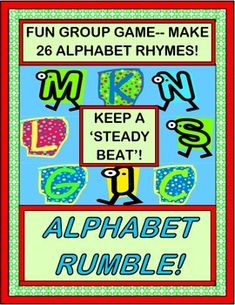 """""""ALPHABET RUMBLE! LETTERS IN A JUMBLE!"""" Wake up your Letter Work with an ALPHABET GROUP GAME with a steady beat! Use this Alphabet Chant to introduce new LETTERS / SOUNDS or to review ones you've already covered. LETTER CARDS (both color and b/w) are included. """"Making some NOISE, with my girls and boys!"""" (11 pages) From Joyful Noises Express TpT! $"""