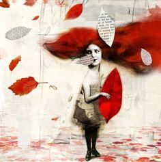 Collages - poppie met cutout rooi blaar ANTONELLO SILVERINI