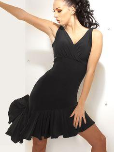 8affd73082ca Motony Fashion Sleeveless V-neck Latin Dance Dress Rumba skirt One Piece  Stage Costume Black M: Bilateral drawstring design lovely oversized skirt  dynamic ...