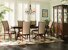 Keira Dining Set -Too many kids, dogs and husbands at my house for white upholstery Rustic Dining Set, 7 Piece Dining Set, Dining Table In Kitchen, Dining Room Sets, Brown Furniture, Dining Furniture, Dining Chairs, Furniture Ideas, Coaster Fine Furniture