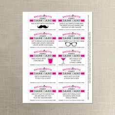 Bachelorette Dare Cards Party Diy Printable Instant