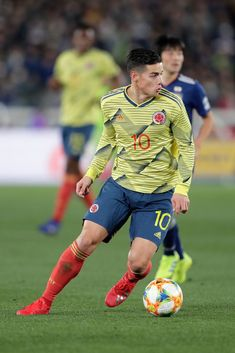 YOKOHAMA, JAPAN - MARCH James Rodriguez of Colombia in action during the international friendly match between Japan and Colombia at Nissan Stadium on March 2019 in Yokohama, Kanagawa, Japan. (Photo by Kiyoshi Ota/Getty Images) Best Football Players, Football Boys, Soccer Players, James Rodriguez Colombia, James Rodrigues, Everton, Fifa, Nissan Stadium, James 10