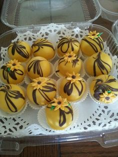 Sunflower Truffle Cake Bites.