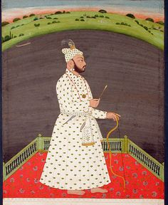 India, Bishan Singh with bow and arrow, Himachal Pradesh, in 1780.