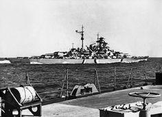 German battleship Bismarck at sea, seen from German heavy cruiser Prinz Eugen, 19 May 1941 (US Naval History and Heritage Command) Bismarck Ship, Sink The Bismarck, Naval History, Military History, Croiseur Lourd, Prinz Eugen, Heavy Cruiser, Navy Ships, Luftwaffe