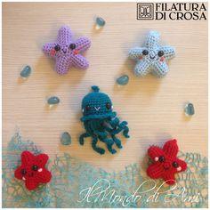 """Portachiavi marini #handmade #amigurumi #crochet realizzati con filati """"Zara"""" """"Zarina"""" microfibra """"ExcellentBaby"""" Filatura di Crosa"""