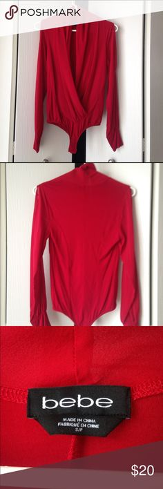 BEBE long sleeve bodysuit. Just got dry cleaned. Only been worn a couple times. Has slits in the sleeves, comfortable to wear with leggings or skirts. bebe Tops Blouses
