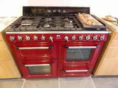 """Smeg VIctoria range...in the words of 'A Yorkshire Home' - """"Normal ovens don't clean themselves. come with a Teppanyaki attachment or let's face it, look this fabulous."""""""