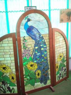 Peacock dressing screens | Stained glass Peacock Dressing Screen