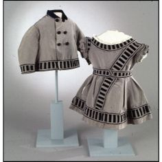 Child's dress and coat, grey and black silk ca.1865