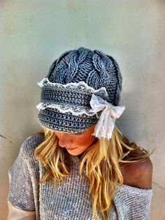 Cable Knitted Lace Brimmed Hat Boho by ThreeBirdNest <3 it and totally just bought it!
