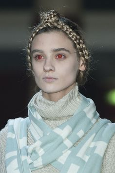 Braid crown at Undercover Fall 2014  - Runway Beauty at Paris Fashion Week #PFW