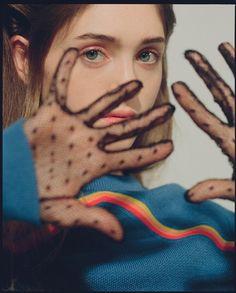 Natalia wears wool jumper Carven, point d'esprit gloves Marc Jacobs