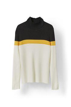 Ganni - Williams Rollneck, Gold Fusion Stripe