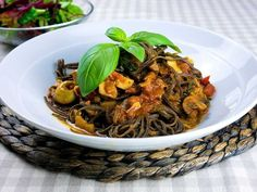 This recipe with black bean spaghetti is very high in protein, gluten-free, tastes great and is very easy to cook.