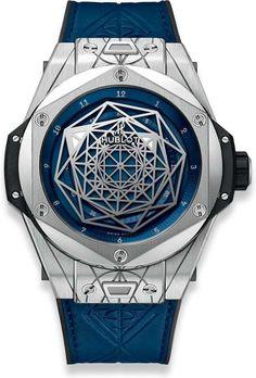 Hublot Big Bang Unico Mechanical (Automatic) Blue Dial Mens Watch (Certified Pre-Owned) Titanium Blue, Hublot Watches, Certified Pre Owned, Hand Designs, Automatic Watch, Watch Brands, Bigbang, Calf Leather, Bangs