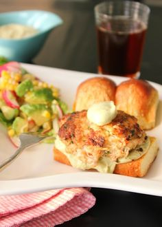 Southern Shrimp and Crab Cake Burgers with Avocado, Jalapeno Yogurt Sauce | She's Cookin' | from the heart