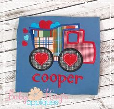 Show a little love with this adorable applique design. This dump truck features little hearts just falling over the edge of the truck. So cute and ready for Valentine's Day. Applique Designs, Embroidery Designs, Embroidery Applique, Machine Embroidery, Dump Truck, Cute Designs, Christening, 4x4, Valentines