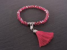 Bracelet cristaux rouge pompon