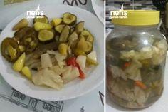 Karışık Kıtır Turşu Tarifi Turkish Recipes, Canning Recipes, Pickles, Cucumber, Pasta, Homemade, Chicken, Food, Eten