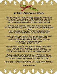 First Christmas in Heaven Poem Printable | My first Christmas without my dad. Merry Christmas Daddy - I miss you ...