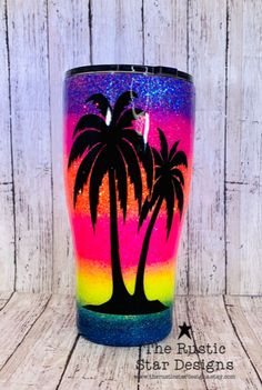 This listing is for these beautiful neon sunset ombre glitter tumblers. In the personalization spot please add what name you would like to include on the tumbler. Diy Tumblers, Custom Tumblers, Glitter Tumblers, Personalized Tumblers, Glitter Force, Custom Cups, Tumbler Designs, Glitter Cups, Cup Design