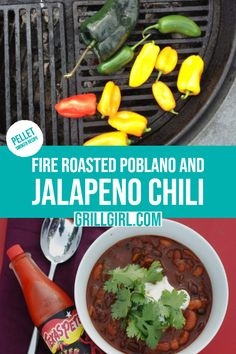 Chili with Fire Roasted Poblano and Jalapeno - GrillGirl One of the best vegetarian chili recipes out there. Grab this recipe today!One of the best vegetarian chili recipes out there. Grab this recipe today! Easy Bbq Recipes, Healthy Grilling Recipes, Vegan Grilling, Barbecue Recipes, Bean Recipes, Chili Recipes, Pepper Recipes, Tailgating Recipes, Barbecue Sauce