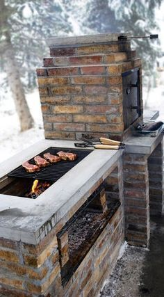 An outdoor kitchen is an excellent way to equip your backyard for entertaining and feeding hungry friends and family. Outdoor kitchens range from small areas with little more than a built-in barbeque grill to large, fully equipped kitchens complete with one or more grills, countertops, sinks, and storage cabinets. #outdoorkitchengrillarea