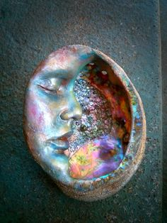 RESERVED for Shelly, Payment 3 of Abalone Moon Shell, Mother of Pearl Sculpture, by Shaping Spirit Seashell Art, Seashell Crafts, Sculpture Art, Sculptures, 3d Studio, Sea Witch, Moon Art, Abalone Shell, Clay Art