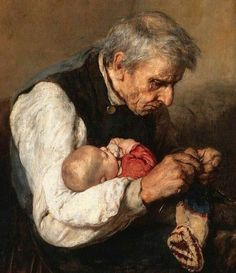 """""""grandfather and grandson"""" - details Nikolaos Gyzis (Greek painter - Knitting, chrochet and sewing cards -"""