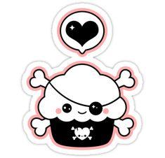 Super cute pink and black cupcake pirate stickers.