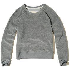 Hollister Velour Crew Sweatshirt (385 UAH) ❤ liked on Polyvore featuring tops, hoodies, sweatshirts, grey, crewneck sweatshirt, grey crewneck sweatshirt, crew top, velour sweatshirt and velour tops