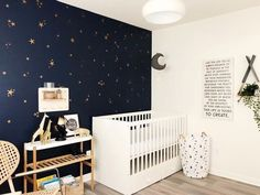The secret to a show stopping nursery. (The Decorista) 2019 The secret to a show stopping nursery. The post The secret to a show stopping nursery. (The Decorista) 2019 appeared first on Nursery Diy. Star Bedroom, Baby Bedroom, Baby Boy Rooms, Kids Bedroom, Kids Rooms, Sky Nursery, Outer Space Nursery, Nursery Room, Navy Accent Walls