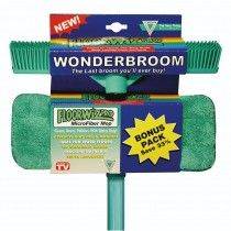 Floorwiz combo saves you Wonderbroom - one swipe and its clean Microfibre cleans dusts polishes - water only Microfibre mop - safe for wooden floors 12 month guarantee