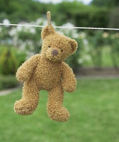 Somebody had a bath.  I wash my bears and bunnies and they never seem to mind being hung up by their little ears. They are most patient with me, I must say. How to Wash Stuffed Animals