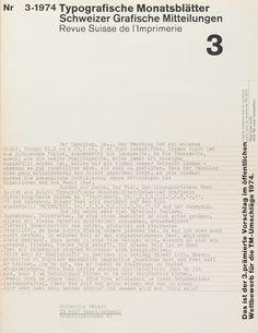 Typographische Monatsblätter, Issue 3 – Wolfgang Weingart, 1974