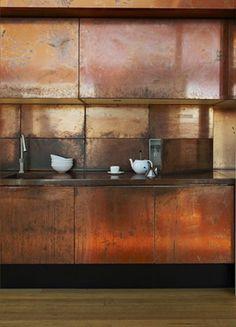Copper flashing kitchen.